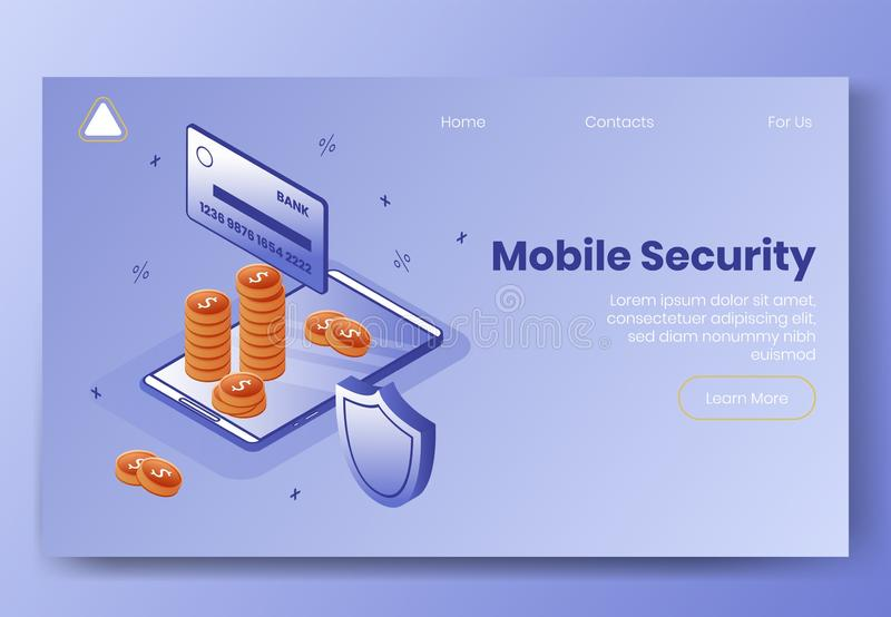 Digital isometric design concept set of mobile security app 3d icons.Isometric business finance symbols-credit card royalty free illustration
