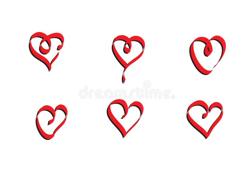 Digital designed heart vector ribbon vector illustration