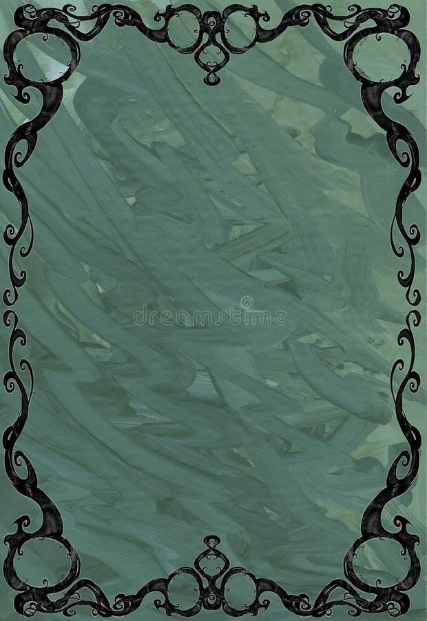Digital designillustration av en härlig, elegant och krullad rambeståndsdel med växten och naturligt tema vektor illustrationer