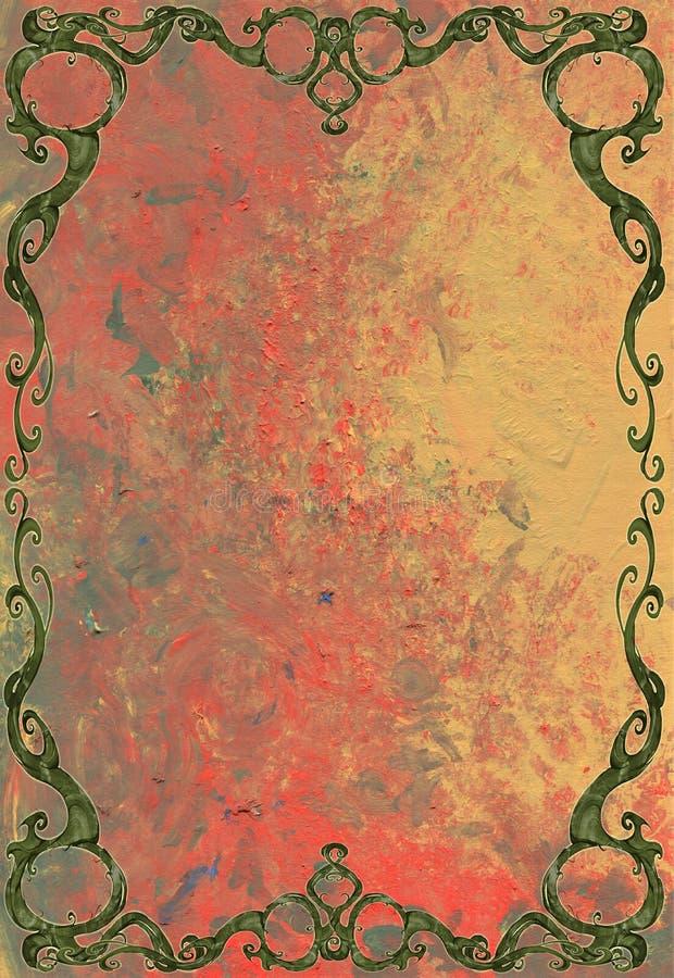 Digital designillustration av en härlig, elegant och krullad rambeståndsdel med växten och naturligt tema stock illustrationer