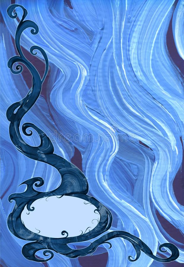 Digital designillustration av en härlig, elegant och krullad rambeståndsdel med växten och naturligt tema royaltyfri illustrationer