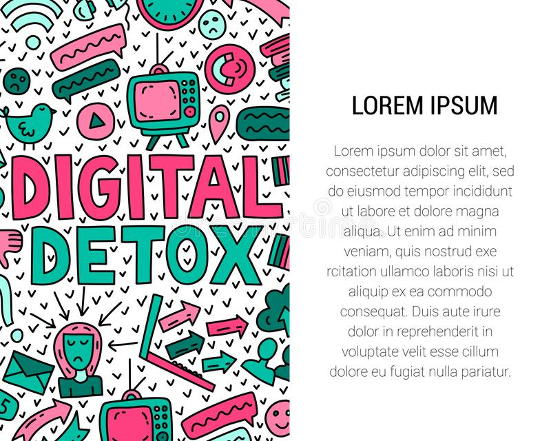 Digital detox. Concept illustration with lettering and doodles royalty free illustration