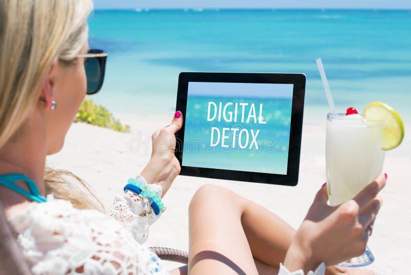 Digital Detox Concept. On tablet computer stock image