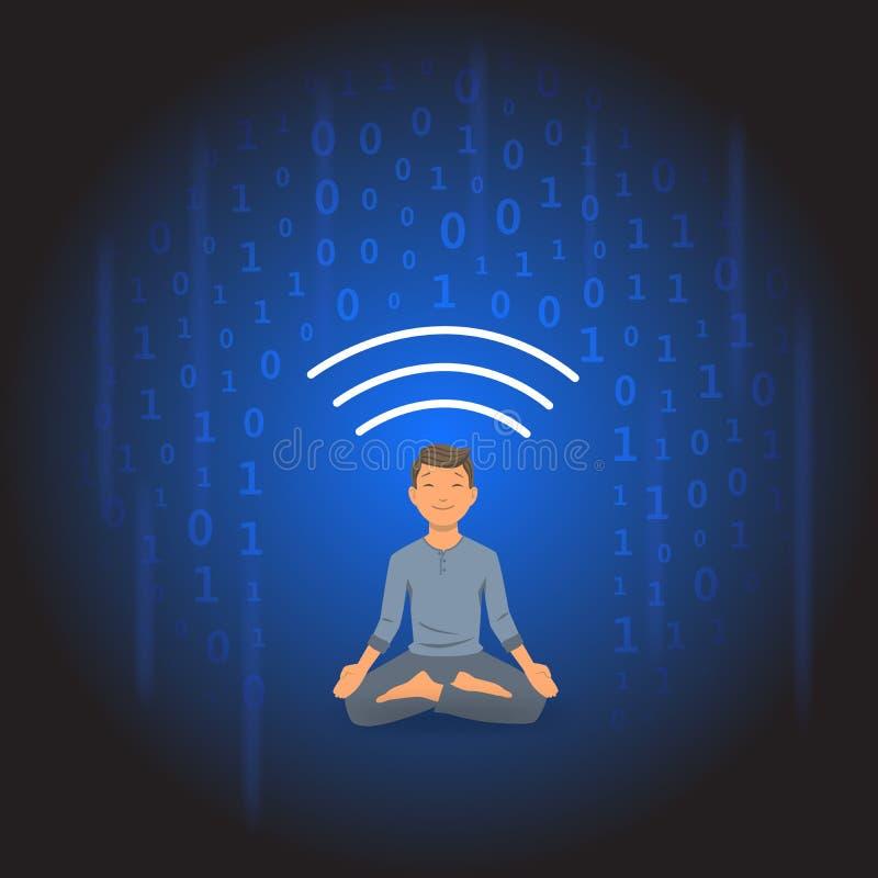 Digital detox och meditation Meditera mannen som skyddas från dusch av information Plan vektorillustration royaltyfri illustrationer
