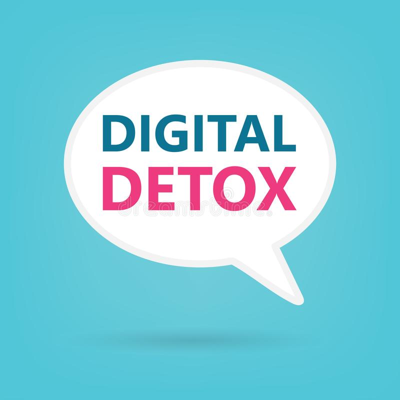 Digital detox on a speech bubble stock illustration