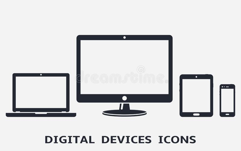 Digital device icons: smart phone, tablet, laptop and desktop computer. Vector illustration stock illustration