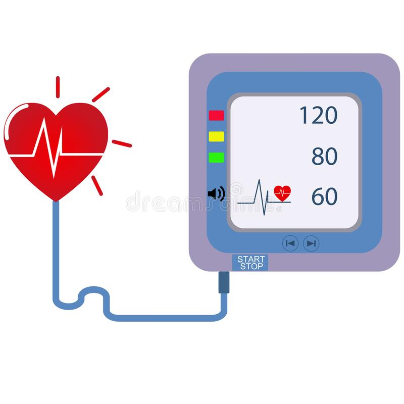 Digital device Medical equipment for measuring pressure, Diagnose hypertension, heart. Vector illustrations concept healtycare royalty free illustration