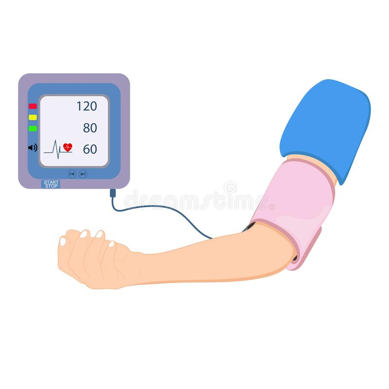 Digital device Medical equipment for measuring pressure, Diagnose hypertension, heart, vector illustrations. Concept healtycare royalty free illustration