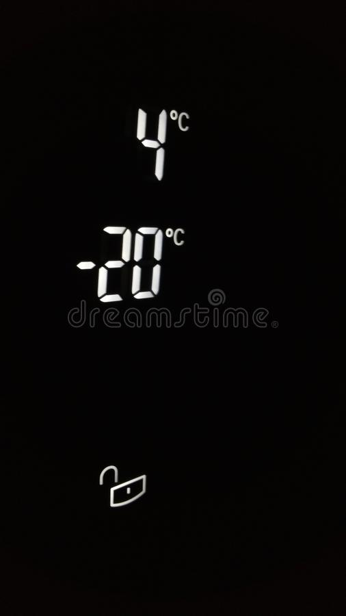 Digital Device Showing Negative 20 Degrees stock photography