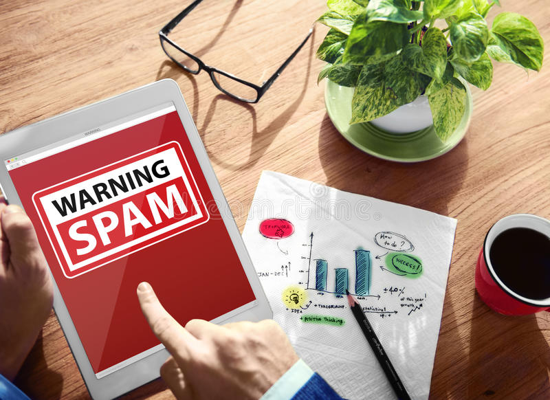 Digital Device Wireless Browsing Warning Spam Internet Concept stock photo