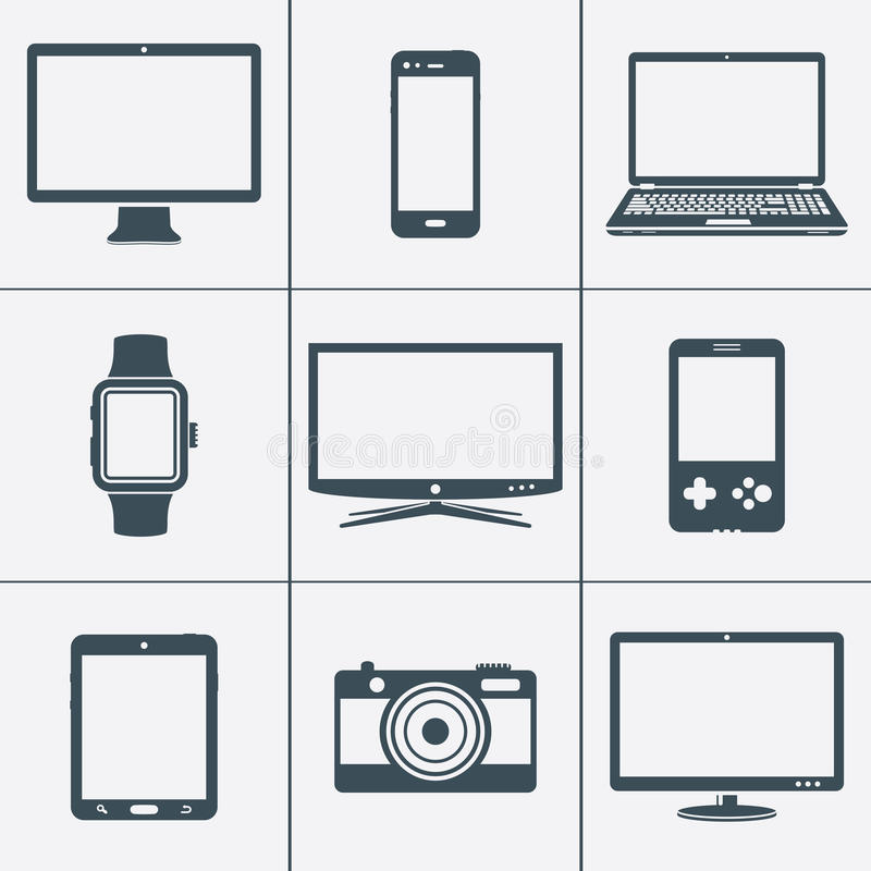 Digital devices icon set stock illustration
