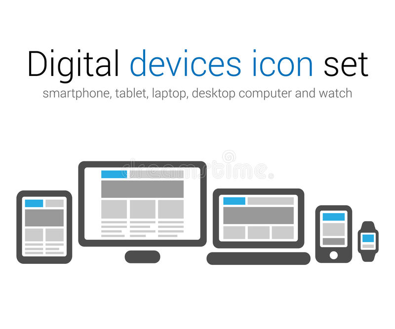 Digital devices icon set. Vector set of digital devices smartphone, tablet, laptop, desktop and watch royalty free illustration