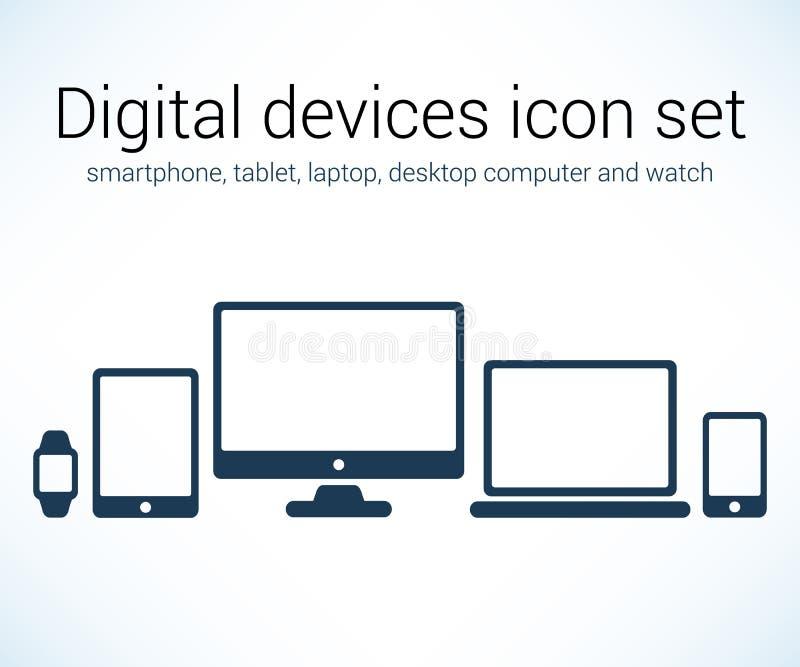 Digital devices icon set. Vector set of digital devices smartphone, tablet, laptop, desktop and watch, eps10 vector illustration