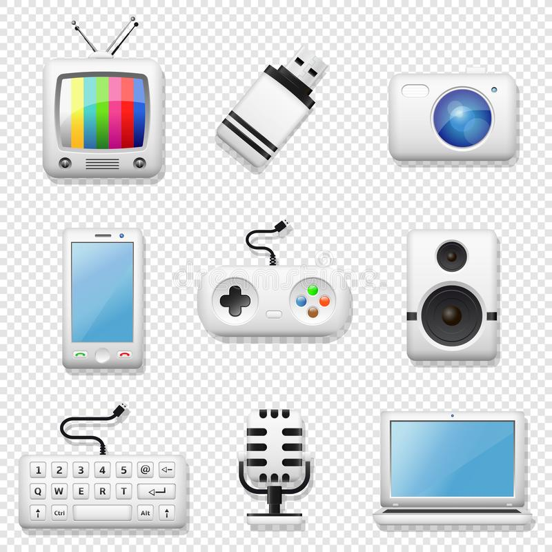 Digital devices icons set isolated. On transparent background royalty free illustration