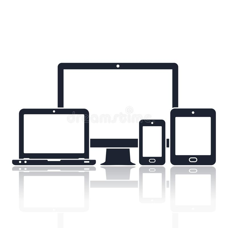 Digital devices icons. Smart phone, tablet, laptop and computer monitor. Vector illustration of responsive web design. Device icons: smart phone, tablet, laptop royalty free illustration