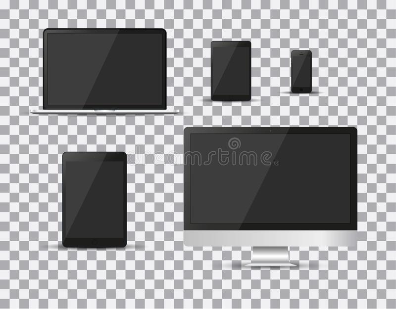 Digital devices. Laptop, tablet, monitor vector illustration