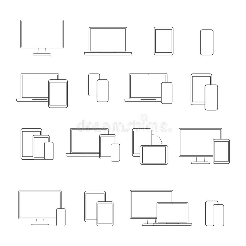 Digital devices line icon set, on white background royalty free illustration