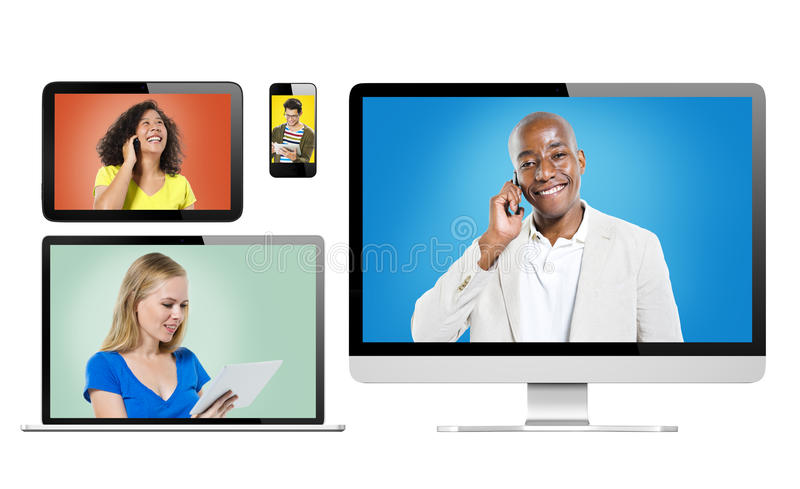 Digital Devices with Portrait of People Using Devices.  royalty free stock photography