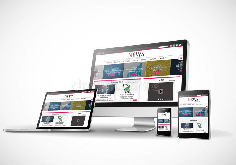 Digital devices with responsive news website royalty free illustration