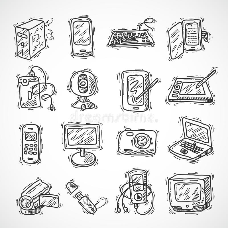 Digital Devices Set. Digital devices sketch set with mobile phone tablet monitor video camera isolated vector illustration royalty free illustration