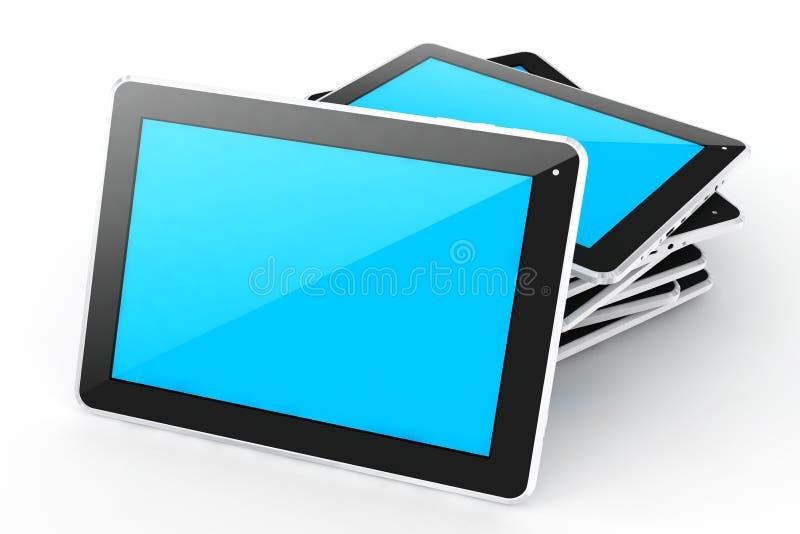 Digital devices tablet. Digital devices tablet stack on white background stock illustration