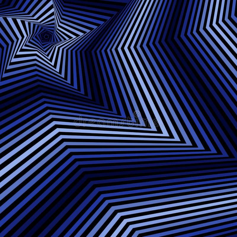 Digital, die blaue fünfeckige Sternformen wirbeln stock abbildung
