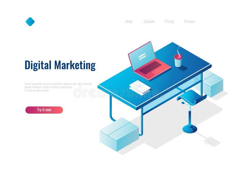 Digital, die isometrische Konzeptbeschäftigung, Büroarbeitsplatz, Arbeitsplatz, Tabelle mit offenem Laptop, Spitze vermarkten lizenzfreie abbildung