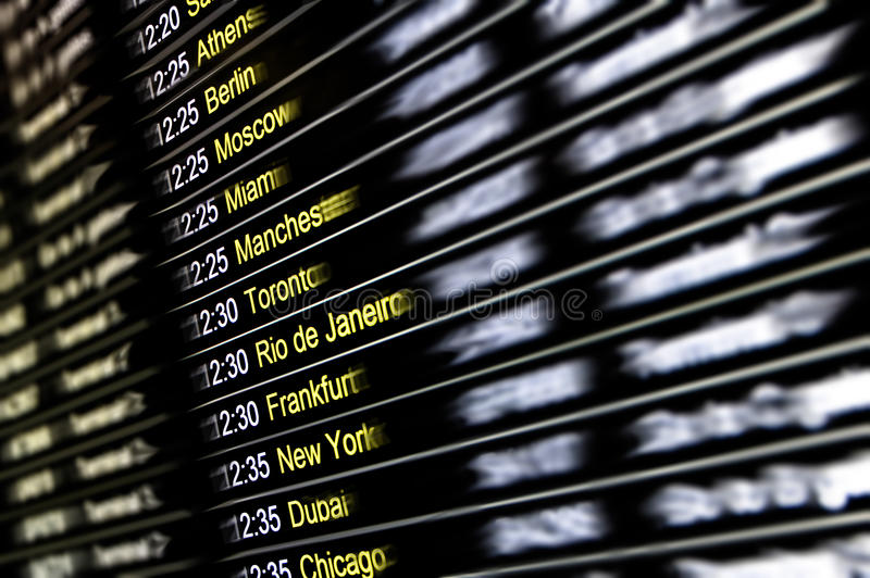 Digital display at international airport - Flight connections stock photos