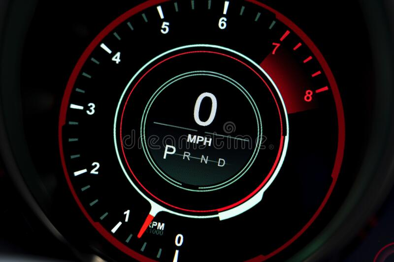 Digital Display Rev Counter with mph found in a modern car royalty free stock photos