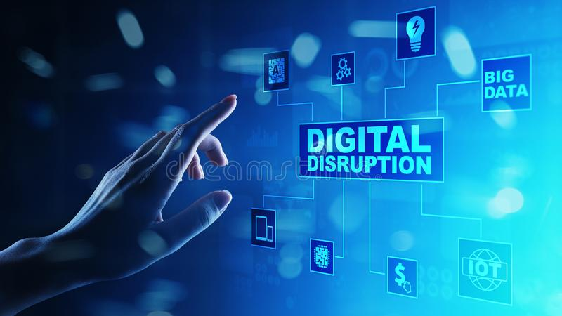 Digital Disruption. Disruptive business ideas. internet of things, network, smart city and machines, big data, AI. Digital Disruption. Disruptive business ideas stock photo