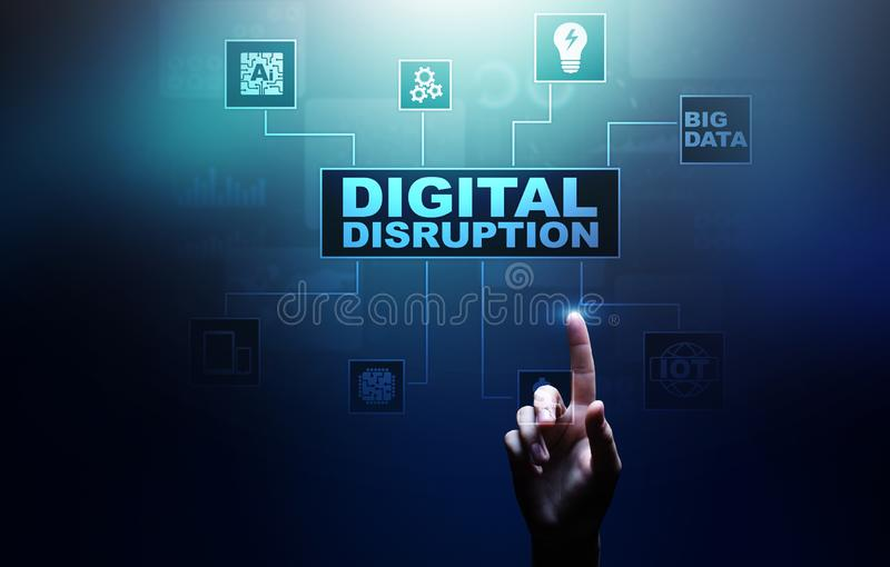 Digital Disruption. Disruptive business ideas. IOT, network, smart city and machines, big data, Artificial intelligence. Digital Disruption. Disruptive business stock image