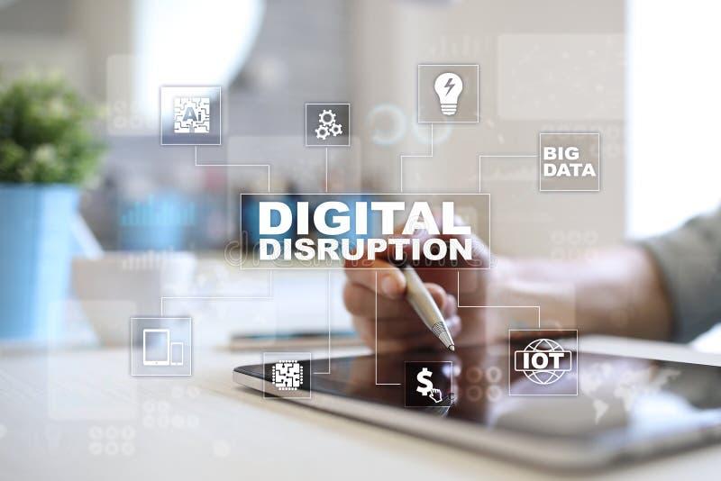 Digital disruption, future technology concept on virtual screen. stock photo