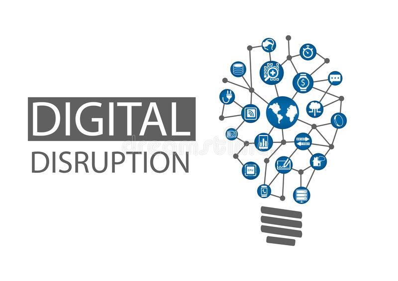 Digital disruption illustration. Concept of disruptive business ideas like computing everywhere, analytics, smart machines. Cloud, web-scale IT, mobility