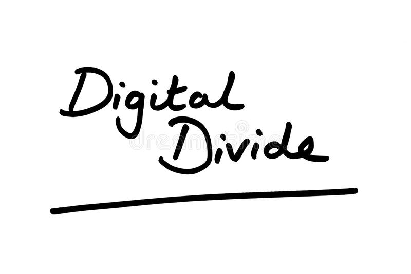 Digital Divide. Handwritten on a white background royalty free stock images