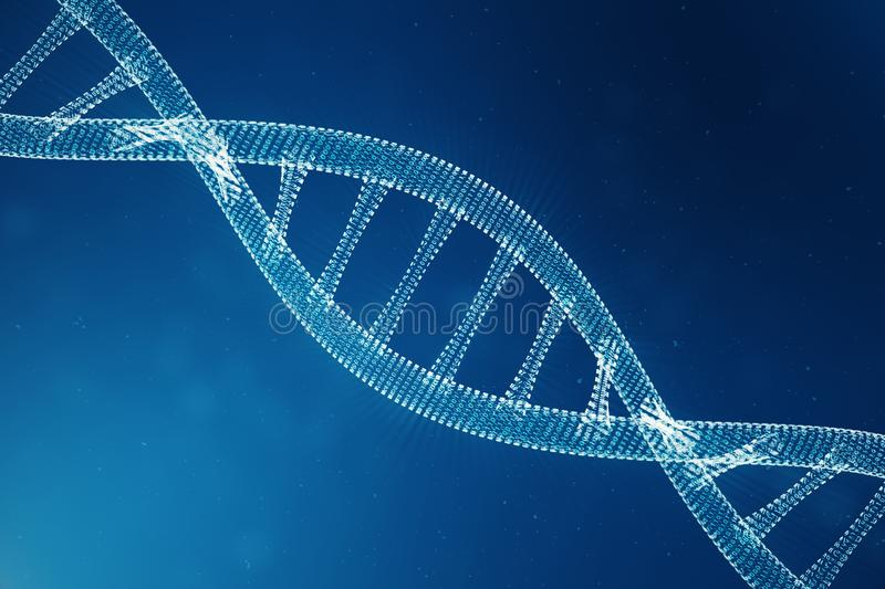 Digital DNA molecule, structure. Concept binary code human genome. DNA molecule with modified genes. 3D illustration. Digital DNA molecule, structure. Concept royalty free stock photography