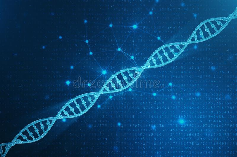 Digital DNA molecule, structure. Concept binary code human genome. DNA molecule with modified genes. 3D illustration. Digital DNA molecule, structure. Concept stock image