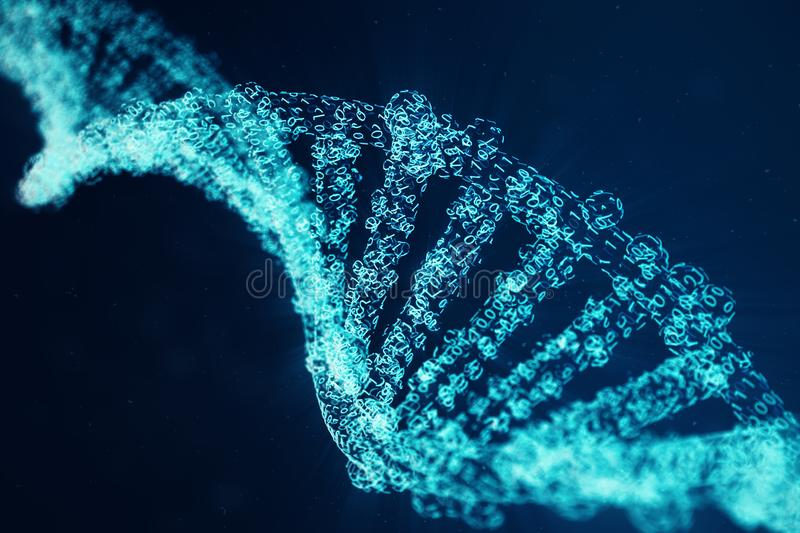 Digital DNA molecule, structure. Concept binary code human genome. DNA molecule with modified genes. 3D illustration stock photo