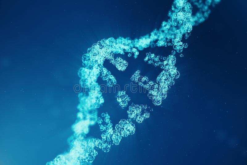 Digital DNA molecule, structure. Concept binary code human genome. DNA molecule with modified genes. 3D illustration stock photography