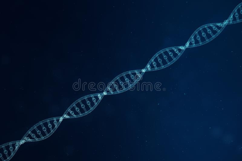 Digital DNA molecule, structure. Concept binary code human genome. DNA molecule with modified genes. 3D illustration royalty free stock photo