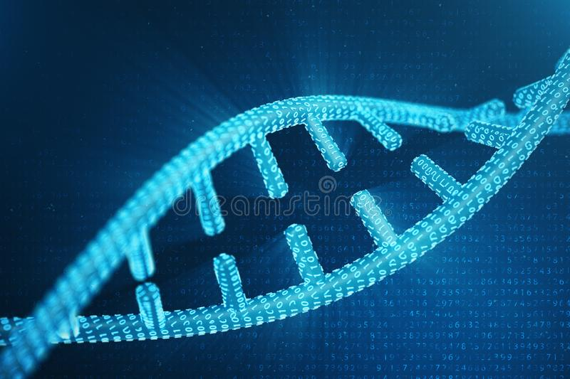 Digital DNA molecule, structure. Concept binary code human genome. DNA molecule with modified genes. 3D illustration stock image