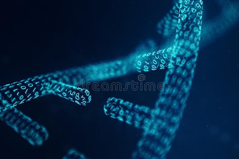 Digital DNA molecule, structure. Concept binary code human genome. DNA molecule with modified genes. 3D illustration royalty free stock images