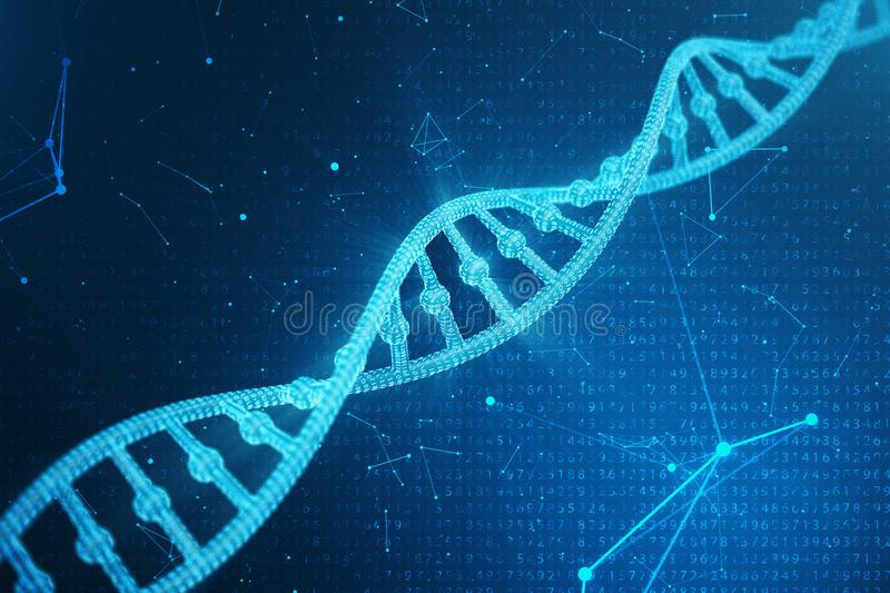 Digital DNA molecule, structure. Concept binary code human genome. DNA molecule with modified genes. 3D illustration vector illustration