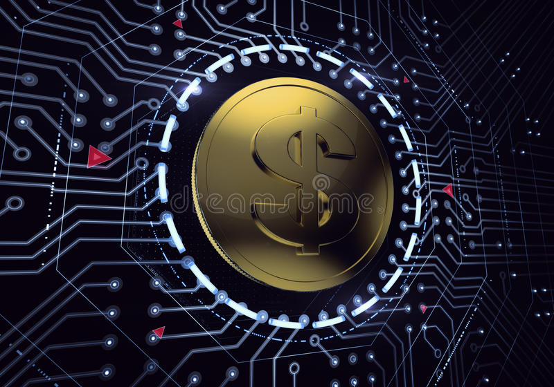 Digital Dollar. Golden coin with the dollar symbol in electronic cyberspace. 3D rendered image stock image