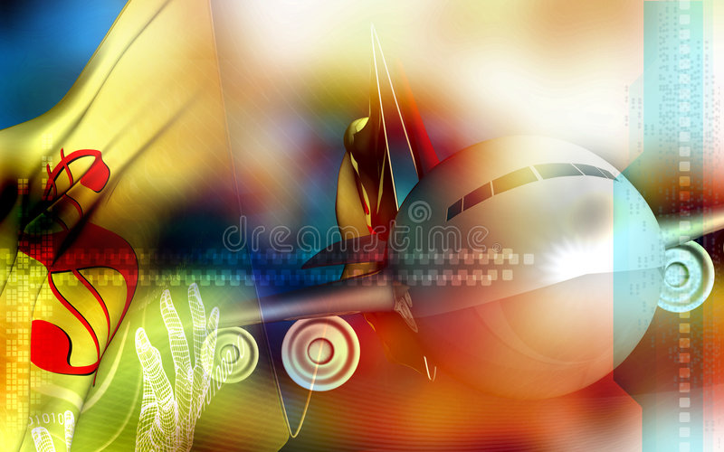 Digital dollar and plane background royalty free illustration