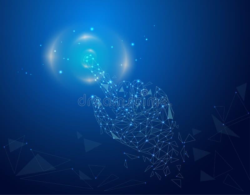 Digital dotyka wzruszającego lub wskazywać nawierzchniowego związek ustanawiał kranowego gest ilustracja wektor