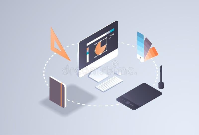 Digital dra process för idérik grafisk för rengöringsdukdesignprojekt för begrepp för dator för bildskärm för skärm kreativitet f stock illustrationer