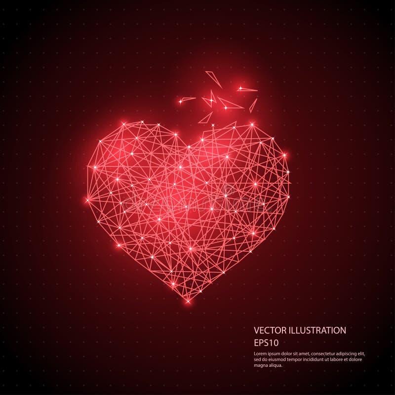 Digital dragen röd för hjärta som poly trådram lågt isoleras på svart bakgrund vektor illustrationer