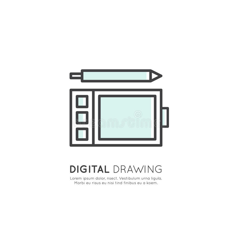 Digital Drawing and Art, Graphic Tablet Tool, Vector Graphics vector illustration