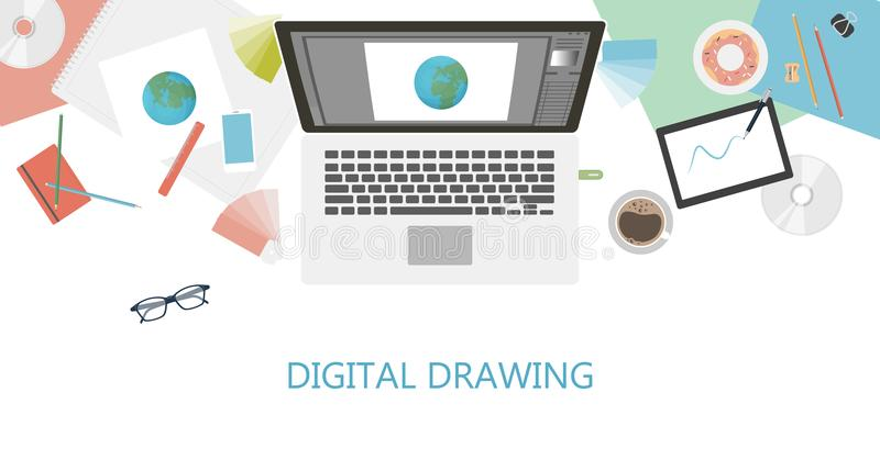Digital drawing desk. Digital drawing desk with computer, tablet and coffee stock illustration