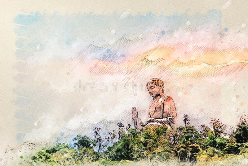 Digital drawing of Giant Buddha of Po Lin Monastery at Lantau Island Hong Kong. With background of sunset sky stock image
